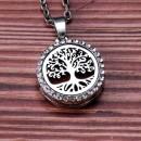 "Аромакулон ""Дерево со стразами"" круг 22 мм на магнитном замке металлический"
