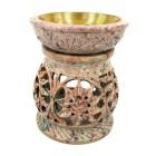 """Аромалампа из камня """"Цветок"""" со съемной чашей с бронзовой вставкой"""