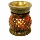 """Аромалампа из камня """"Сеточка"""" со съемной чашей с бронзовой вставкой"""