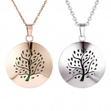 "Аромакулон ""Дерево с листьями"" круг 28 мм с карманом металлический"