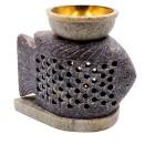 """Аромалампа из камня """"Карп"""" со съемной чашей с бронзовой вставкой"""