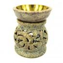 """Аромалампа из камня """"Лианы"""" со съемной чашей с бронзовой вставкой"""