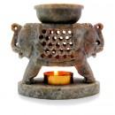 """Аромалампа из камня """"Два слона"""" со съемной чашей с бронзовой вставкой"""