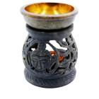 """Аромалампа из камня """"Будда и дерево Бодхи"""" со съемной чашей с бронзовой вставкой"""