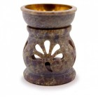 """Аромалампа из камня """"Бутон лотоса"""" со съемной чашей с бронзовой вставкой"""