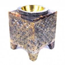 """Аромалампа из камня """"Паутинка"""" со съемной чашей с бронзовой вставкой"""